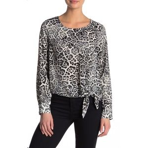 Socialite Animal Print Tie Front Blouse Top